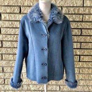 Jackets & Blazers - Vegan faux fur & suede button up jacket